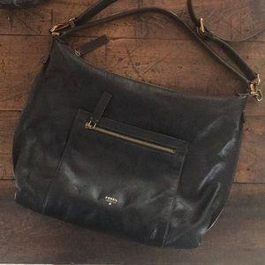 Fossil Black Pebble Leather Shoulder Bag